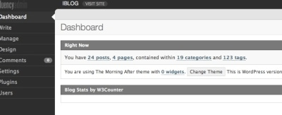 Screen capture from my new dashboard